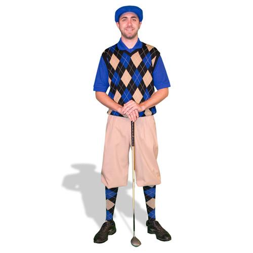 Mens Khaki, Royal & Black Sweater Golf Outfit