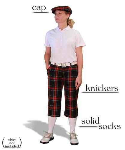 Ladies 'Par 5' Black Stewart Plaid Start-in-Style Outfit