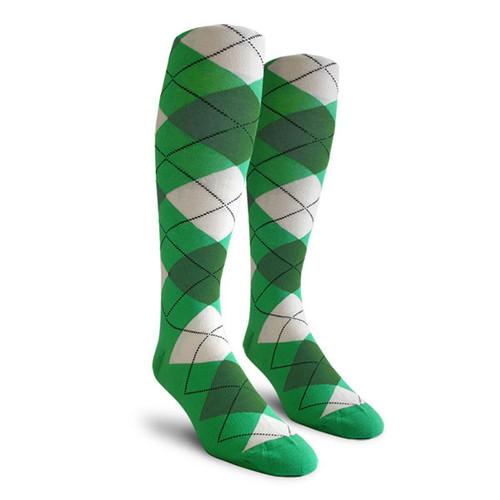 Argyle Socks - Ladies Over-the-Calf - WWW: Lime/Dark Green/White