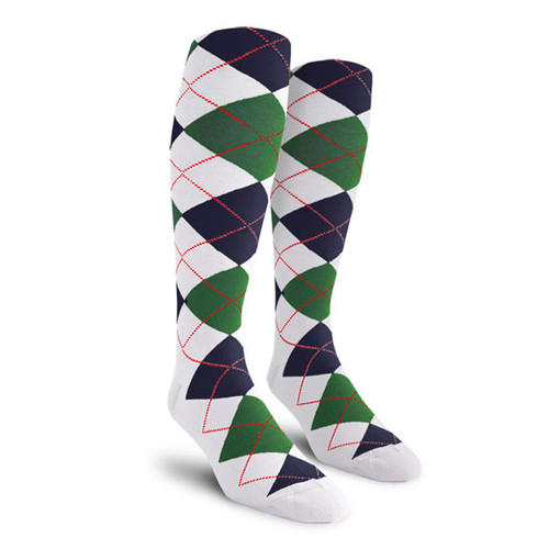 Argyle Socks - Ladies Over-the-Calf - JJJ: White/Dark Green/Navy