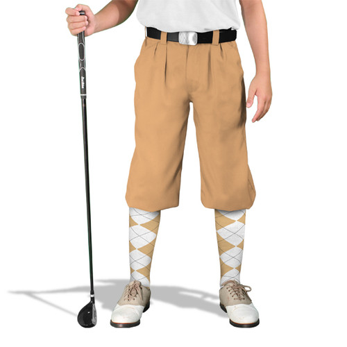 Golf Knickers - 'Par 4' Youth Khaki Cotton