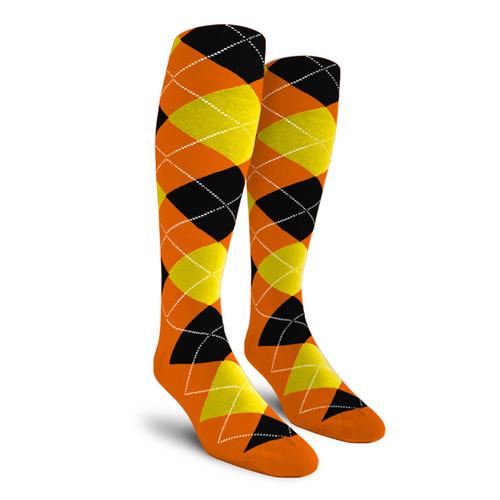Argyle Socks - Ladies Over-the-Calf - 5I: Orange/Yellow/Black