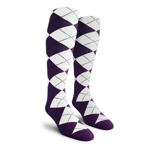 Argyle Socks - Mens Over-the-Calf - BB: Purple/White