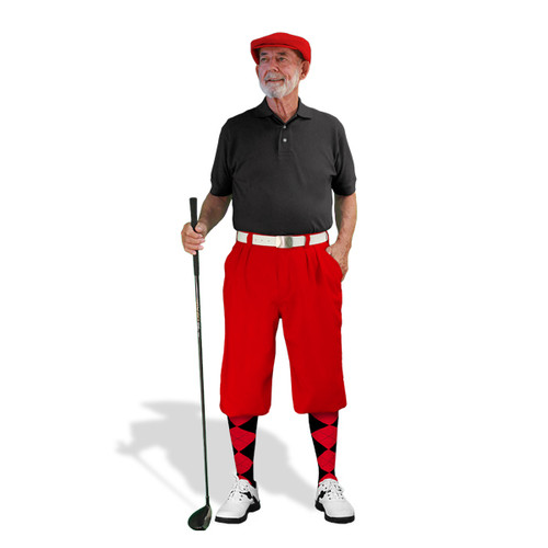 Mens Red & Black Golf Outfit