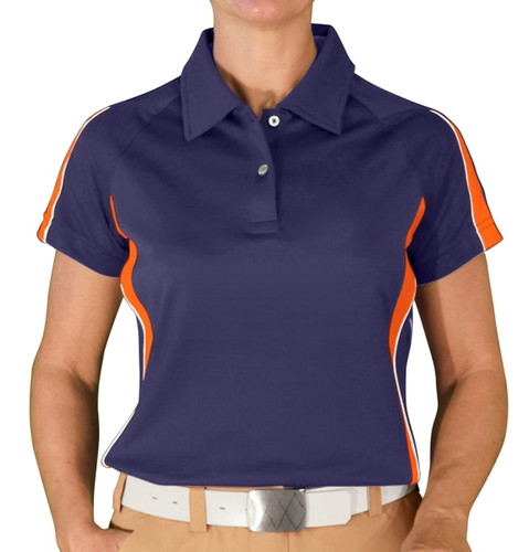 Ladies Eagle Golf Shirt - Navy/Orange