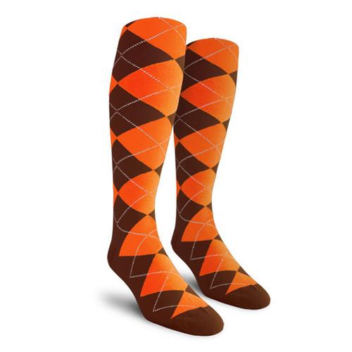 Argyle Socks - Mens Over-the-Calf - KK: Brown/Orange