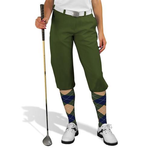 Golf Knickers - 'Par 3' Ladies Olive Microfiber