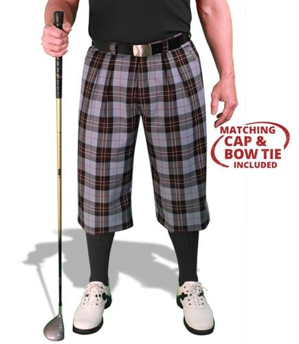 Plaid Golf Knickers, Cap & Bow Tie - 'Par 5' Mens Boca