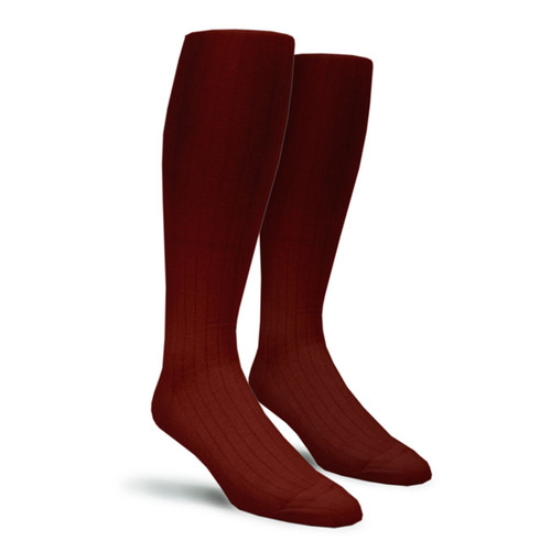 Solid Socks - Mens Over-the-Calf Maroon