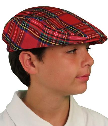 Plaid Golf Cap - 'Par 5' Youth Royal Stewart