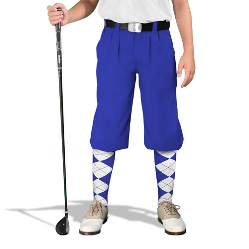Golf Knickers - 'Par 4' Youth Royal Cotton