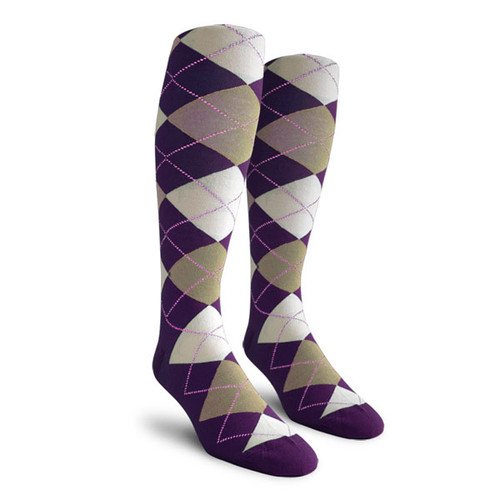 Argyle Socks - Youth Over-the-Calf - ZZZ: Purple/Taupe/White