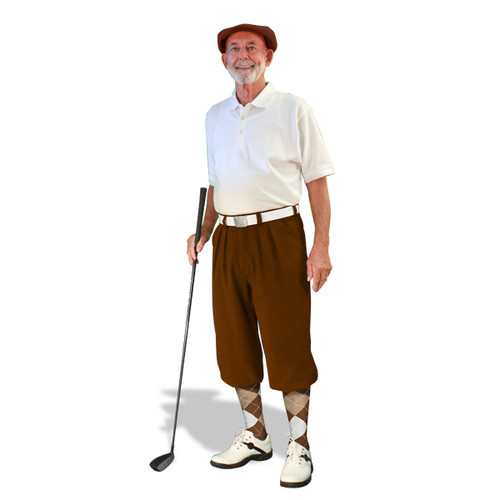 Mens Brown, Gold & White Golf Outfit