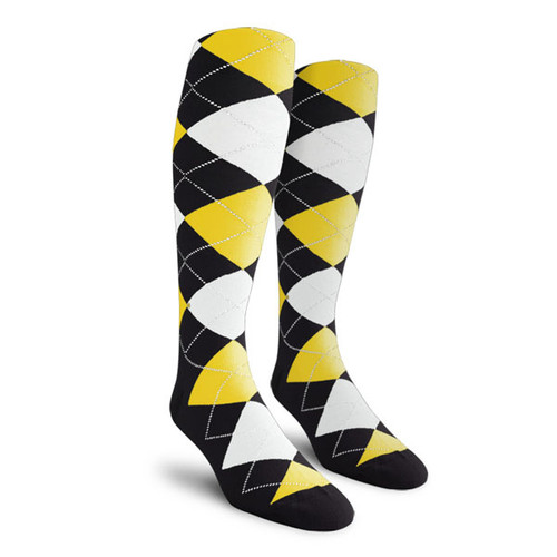 Argyle Socks - Ladies Over-the-Calf - NNNN: Black/Yellow/White