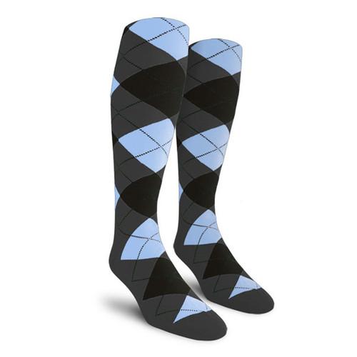 Argyle Socks - Ladies Over-the-Calf - VVVV: Charcoal/Black/Light Blue