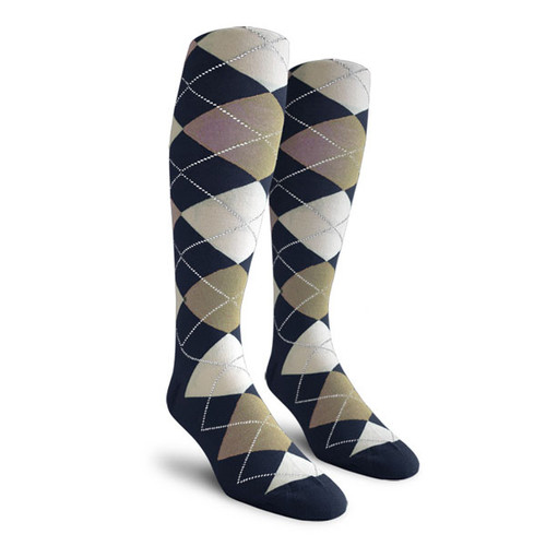 Argyle Socks - Ladies Over-the-Calf - FFFF: Navy/Taupe/White