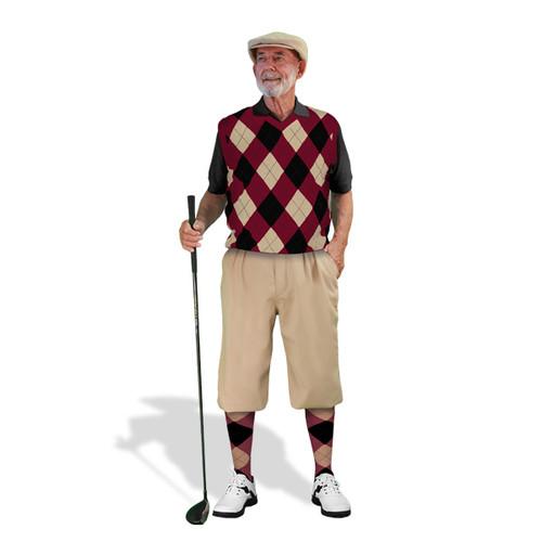 Mens Khaki, Maroon & Black Sweater Golf Outfit