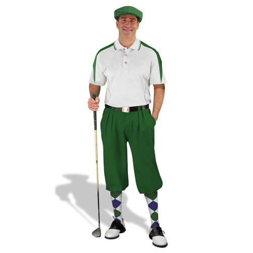Mens Wedge White/Dark Green Golf Outfit