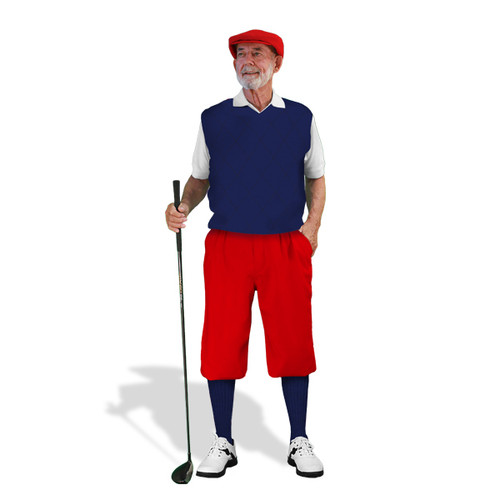 Mens Red, White & Navy Sweater Golf Outfit