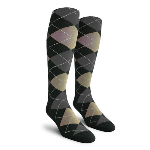 Argyle Socks - Ladies Over-the-Calf - W: Black/Taupe/Charcoal