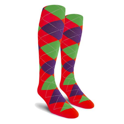 Argyle Socks - Ladies Over-the-Calf - 5C: Red/Purple/Lime