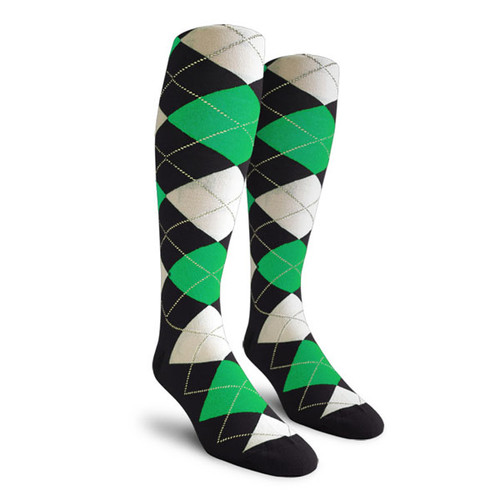 Argyle Socks - Mens Over-the-Calf - RRR: Black/Lime/White