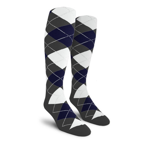 Argyle Socks - Ladies Over-the-Calf - A: Charcoal/Navy/White