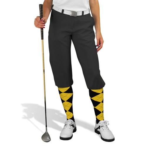Golf Knickers - 'Par 3' Ladies Black Microfiber