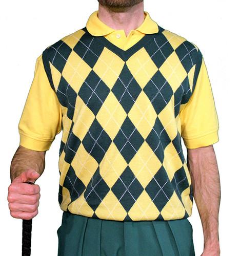 Argyle Sweater Vest - Mens Dark Green/Yellow