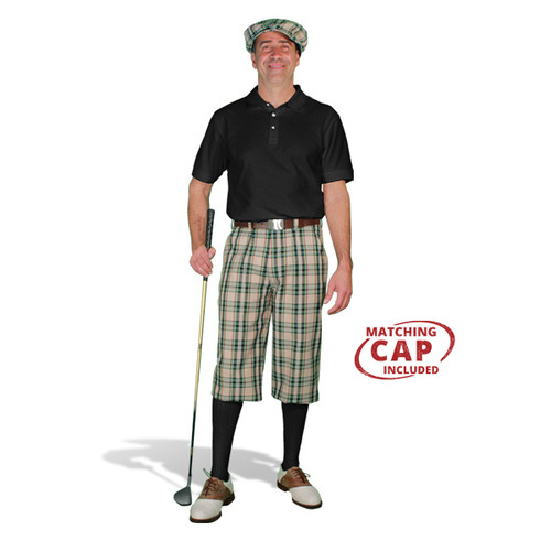 Golf Outfit - Mens Khaki Stewart & Black