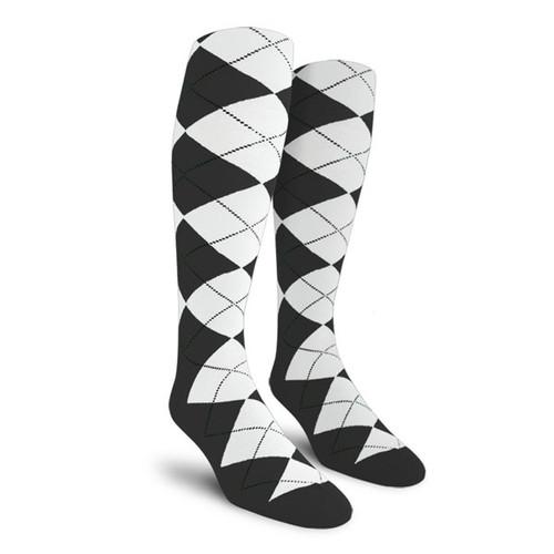 Argyle Socks - Ladies Over-the-Calf - O: Charcoal/White