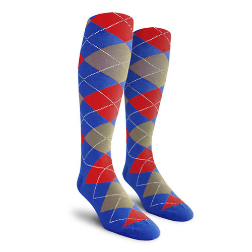 Argyle Socks - Ladies Over-the-Calf - BBBB: Royal/Taupe/Red
