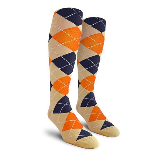 Argyle Socks - Mens Over-the-Calf - PP: Khaki/Orange/Navy