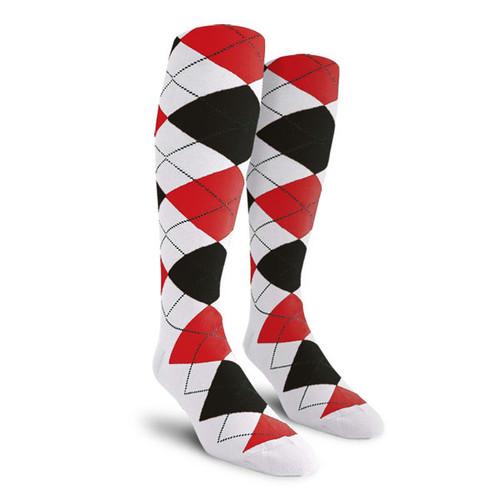 Argyle Socks - Mens Over-the-Calf - ZZZZ: White/Black/Red