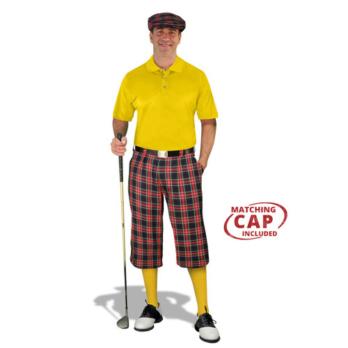 Golf Outfit - Mens Navy Stewart & Yellow