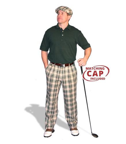 Mens Khaki Stewart & Dark Green Pant Golf Outfit