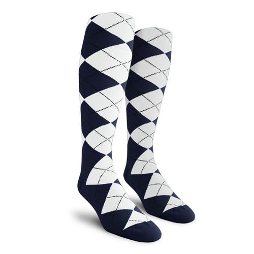 Argyle Socks - Ladies Over-the-Calf - M: Navy/White