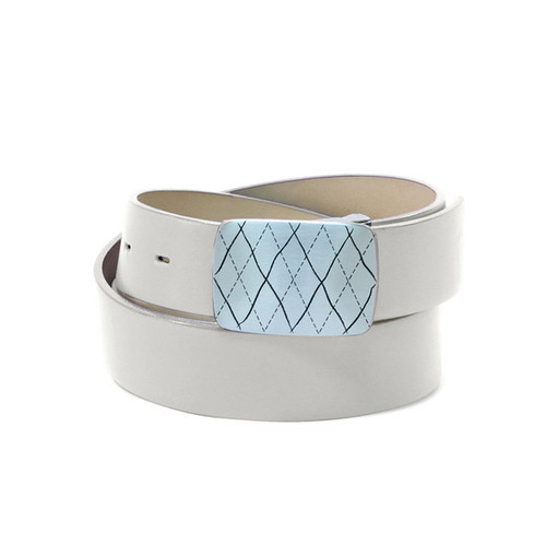 Couture Leather Mens Golf Belt - White