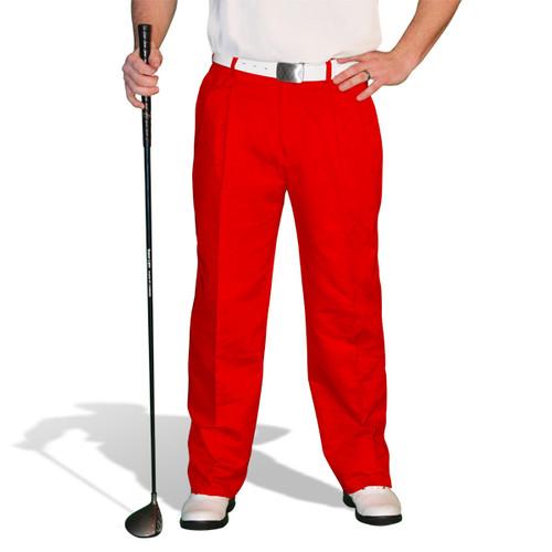 Golf Trousers - 'Par 4' Mens Red Cotton/Ramie