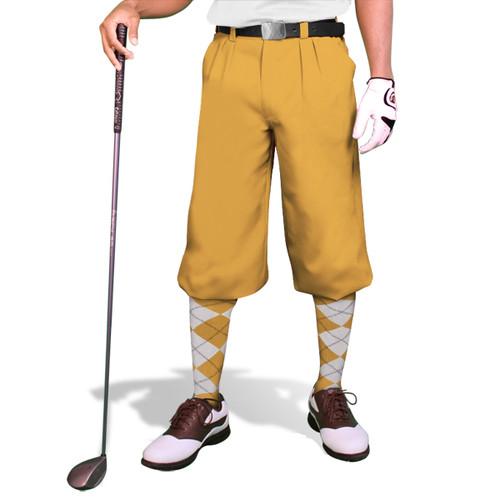 'Par 3' Mens Gold Microfiber Golf Knickers