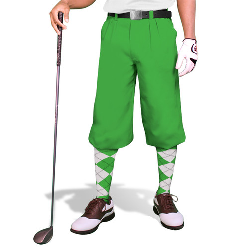 'Par 3' Mens Lime Microfiber Golf Knickers