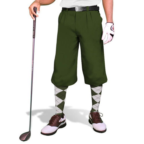 'Par 3' Mens Olive Microfiber Golf Knickers