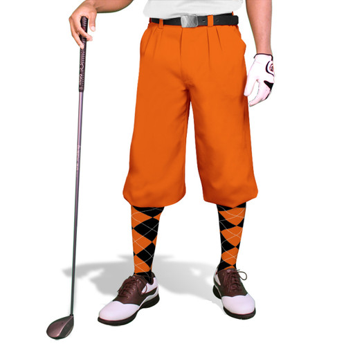 'Par 3' Mens Orange Microfiber Golf Knickers