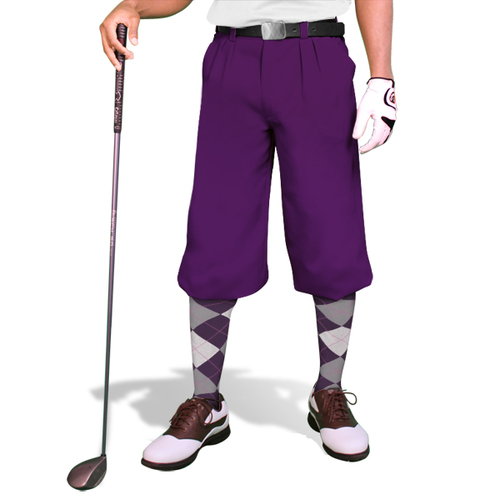 'Par 3' Mens Purple Microfiber Golf Knickers