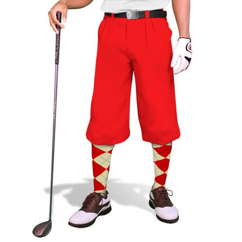'Par 3' Mens Red Microfiber Golf Knickers