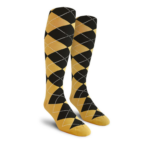 Argyle Socks - Youth Over-the-Calf - SS: Gold/Black