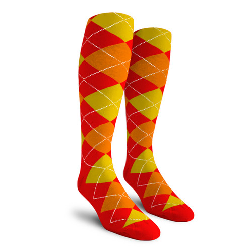 Argyle Socks - Mens Over-the-Calf - 5A: Red/Orange/Yellow