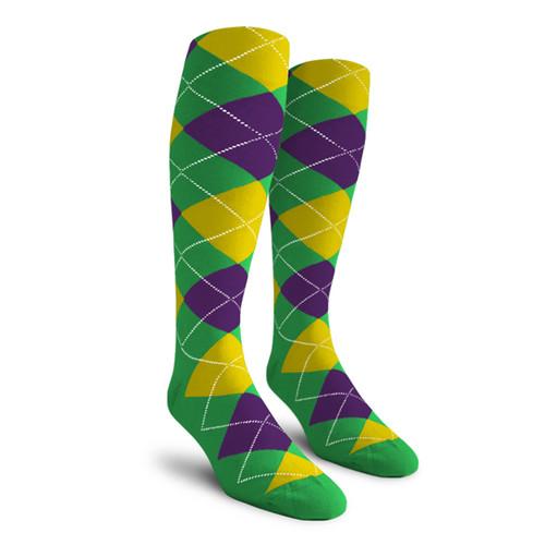 Argyle Socks - Mens Over-the-Calf - 5E: Lime/Purple/Yellow