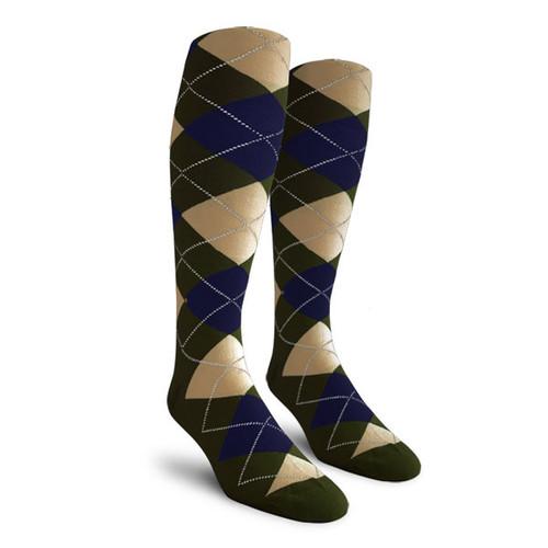 Argyle Socks - Mens Over-the-Calf - D: Olive/Navy/Khaki