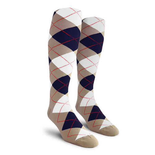 Argyle Socks - Ladies Over-the-Calf - H: Taupe/Navy/White